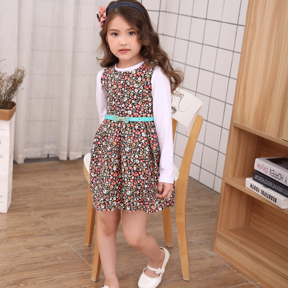 New Fashion Girls Clothes Sleeveless Cotton Floral All-match Dresses With Belt 2-7yrs Kids Party Lucky Children Kleding катушка lucky john anira spin 7 3000 fd