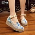 Вышивка туфли на платформе женщины высокие водонепроницаемые имитация белье подошвы женщин Китайский стиль обувь клин каблуки zapatos mujer насосы
