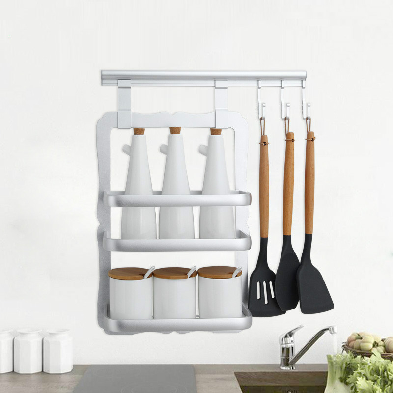Avoid holing kitchen shelf hanging spice rack seasoning receive kitchen hang lever hook on the wall