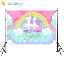 Sunsfun 7x5FT Eenhoorn Achtergrond Verjaardag Achtergrond Golden Rainbow Sterren Bloemen Voor Baby Party Photo Booth 220Cm X 150Cm