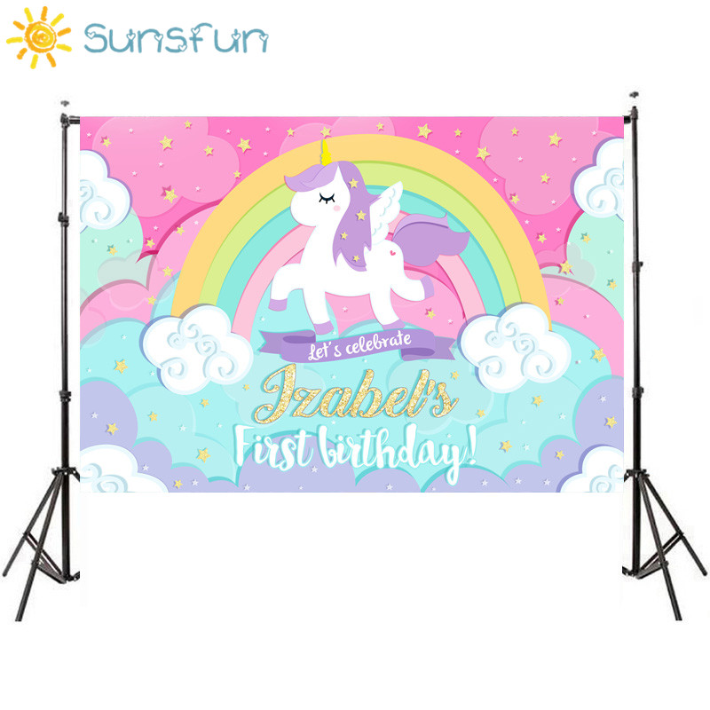Sunsfun 7x5ft Unicorn Backdrop Birthday Background Golden