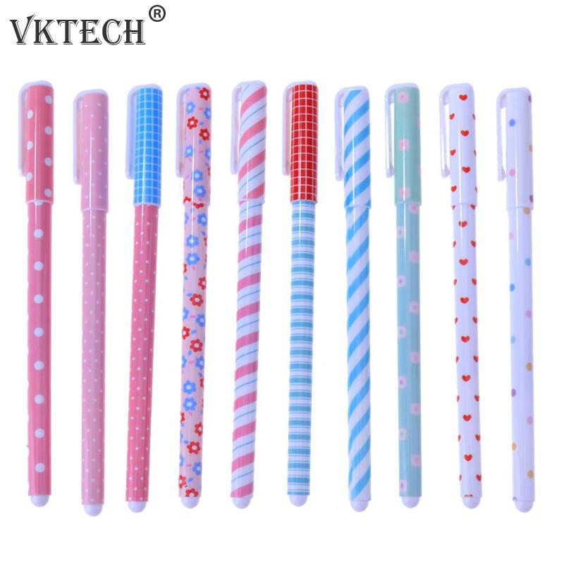 10pcs Colorful Floral Gel Ball Point Pens Writing Stationery Marking Tool Sewing Tools