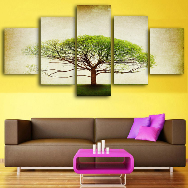 5 panel Printed Vintage tree art scenery landscape modular picture ...