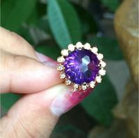 Natural amethyst ring 925 sterling silver Fine purple crystal jewelry Gem size 12mm