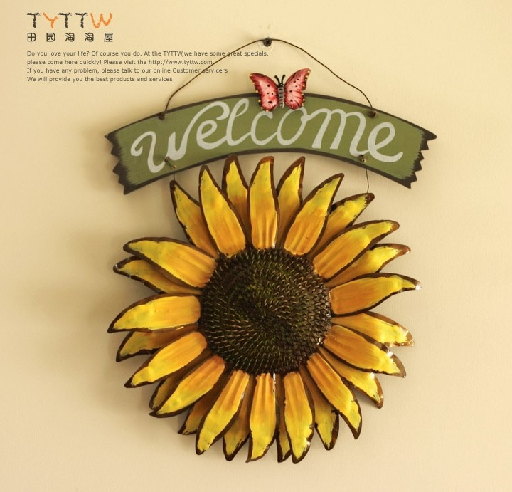 Modern Home Decoration Metal Wall Art SunFlower and Welcome as Wall ...