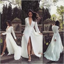 Women's Deep V Neck Vintage Long Sleeve Long Dress Slim Wedding High Slit Up White Maxi Dresses Elegant Party Dress club dress red satin deep v neck slit hem maxi slip dress