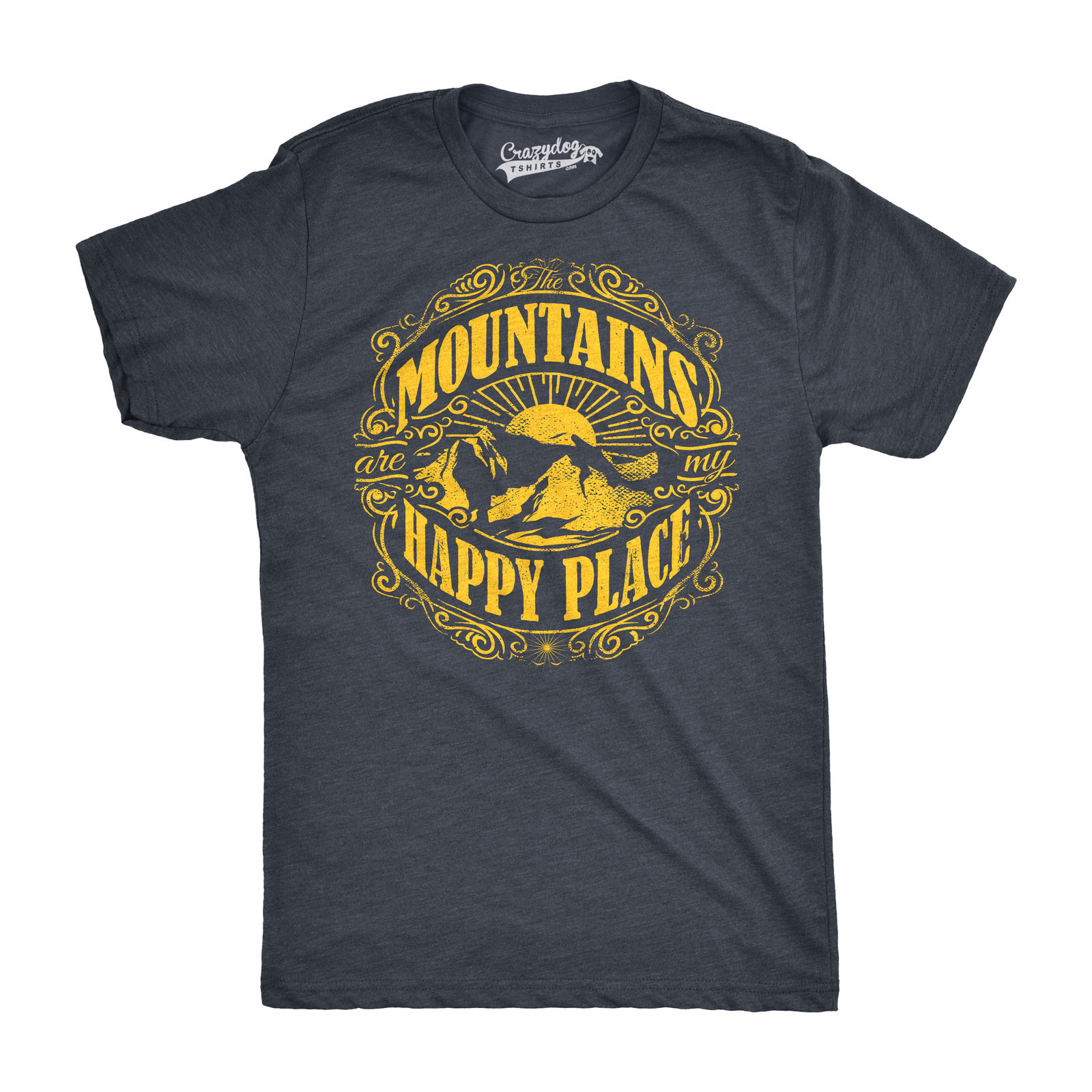 Mens Mountains Are My Happy Place Cool Vintage Rockies Outdoor Nature T shirt Harajuku Tops Fashion Classic Unique free shipping