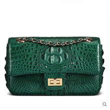 VV Authentic luxury  Real crocodile leather single shoulder women bag big capacity casual fashion slant bag female flap