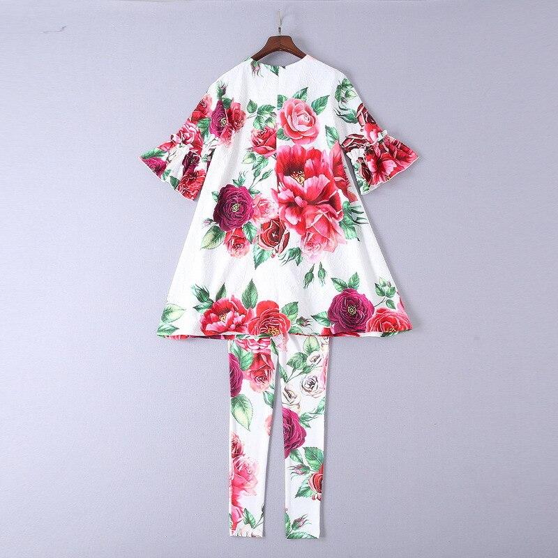 2018 Pivoine Impression Minutes Parure Automne 5 Pantalon Nouveau Fleur T Européen Femmes shirt Costume Porter Américain De Manches Le Et 1w66qZYF