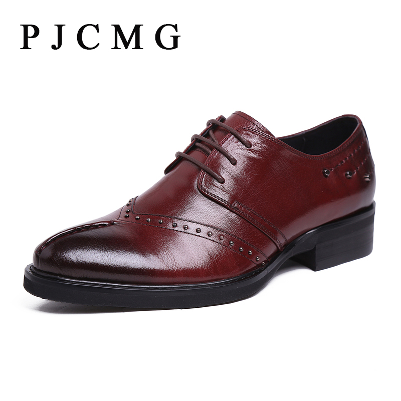 PJCMG Hot Sale New Oxford For Men Fashion Men Genuine Leather Spring Autumn Men Casual Flat Patent Shoes Size 38-44