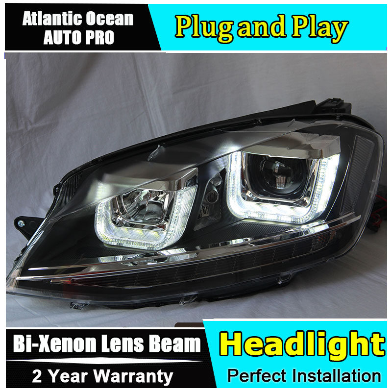 Auto.Pro Car Styling for VW Golf7 Headlights for Golf 7 MK7 LED Headlight Lens Double Beam HID KIT Xenon bi xenon lens hireno headlamp for volkswagen golf7 golf 7 mk7 2014 headlight headlight assembly led drl angel lens double beam hid xenon 2pcs