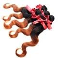 Evet brasileños Ombre onda del cuerpo teje 1 unids bicolor pelo virginal brasileño sin procesar del pelo humano extensiones de cabello tramas 50 g/pcs