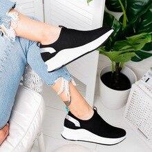 дешево!  Женская мода Обувь Slip On Сплошной Цвет Кроссовки Сетки Мелкие Квартиры Женская Обувь Легкие Повсед