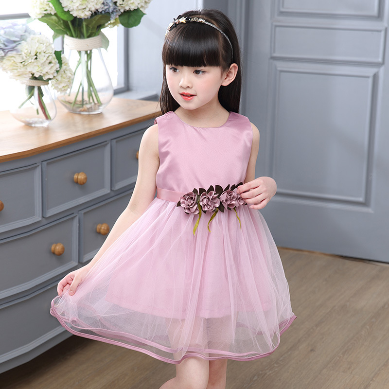 Girls Dresses 2017 dress for girls Flower sashes 2 colors children clothing girl party wear Lase Girl Dress volie 6-12 years kid
