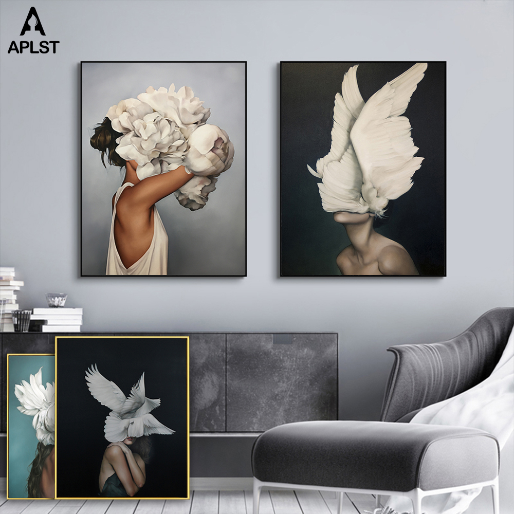 Nude Naked Women Feather Posters And Prints Nordic Figure Canvas Painting Girls Wall Art Flower Pictures For Living Room Bedroom