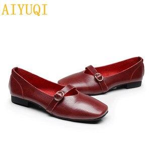 Image 4 - AIYUQI kadın düz ayakkabı 2020 bahar yeni hakiki deri kadın rahat ayakkabılar büyük boy 35 43 rahat anne ayakkabısı kadın