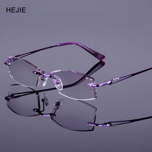 9e8bcfaa30 Elegant Woman Pure Titanium Rimless Eyeglasses Frames Brand Myopia Glasses  Frame For Women Purple Size 52
