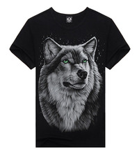 2016 Cotton 3D T Shirt Men Skate Harajuku Anime Plus Size Male Blusa Forest Moon Snow Wolf Animal Funny t-shirt Clothing
