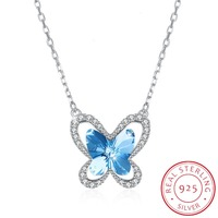 Lekani Pure 925 Sterling Silver Mini Butterfly Pendant Necklace Crystals From Swarovski For Women Wedding Party Jewelry Gifts