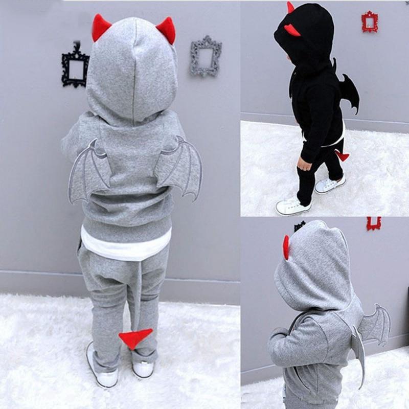 100% Wahr Kinder Kleidung Baby Boy Sets Herbst Frühling Teufel Stereo Flügel Form Kinder Mädchen Kleidung Setzt Säugling Baby Casual Sport Anzug Ein