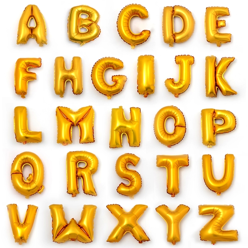 26pcsset 16 inch cute silvergold alphabet a to z foil letters balloons