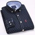 Мужские Рубашки С Длинным Рукавом Мужчины Рубашка Горошек Повседневная Мужская Одежда Slim Fit Мужчины Рубашка Социальный Вышивать Мужские Топы Новый Бренд Моды