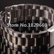 14 mm 16 mm 18 mm 20 mm 22 mm 24 mm de plata con oro de nueva Mens del reloj de Metal negro banda de acero inoxidable pulseras