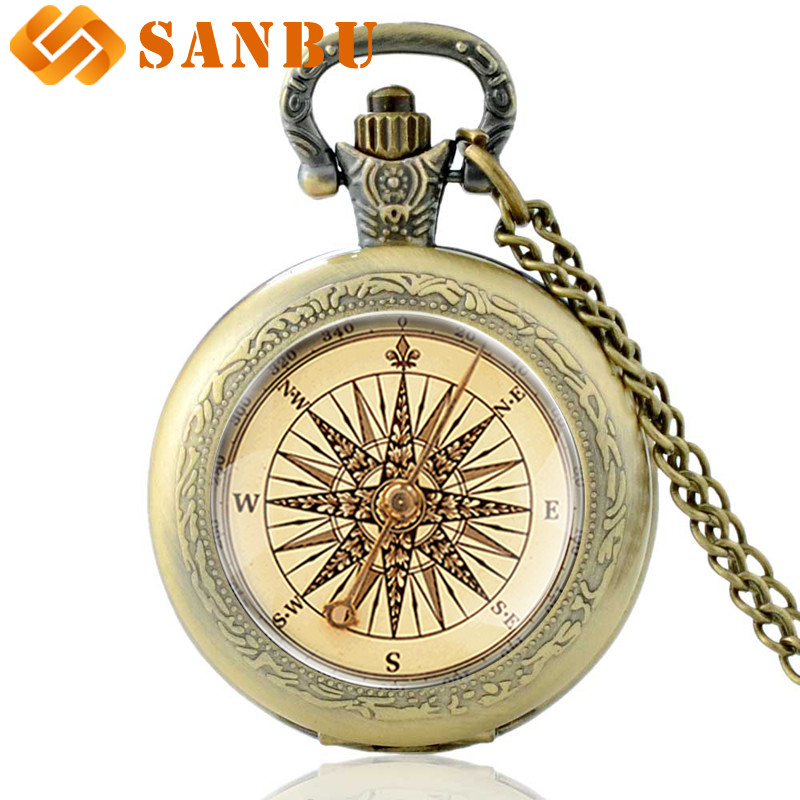 Retro Compass Quartz Pocket Watch Vintage Bronze Men Women Pendant Necklace Gifts