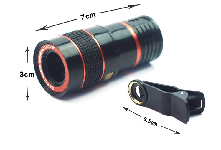 ORBMART 5 in 1 Lenses 8X Telescope 0.4X Super Wide Fish eye Wide Angel Macro For iPhone Samsung HTC Xiaomi Mobile Phone Camera 5