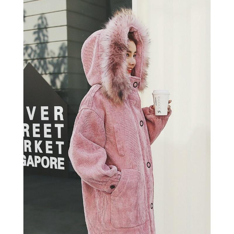 Manteau Femmes Vintage Capuche Velours Parka Pink Rembourré Veste À Épais Hiver Neige Fourrure Grand Col Qualité Côtelé Coton En De 2018 Haute caramel Chaud P1tqwwx0