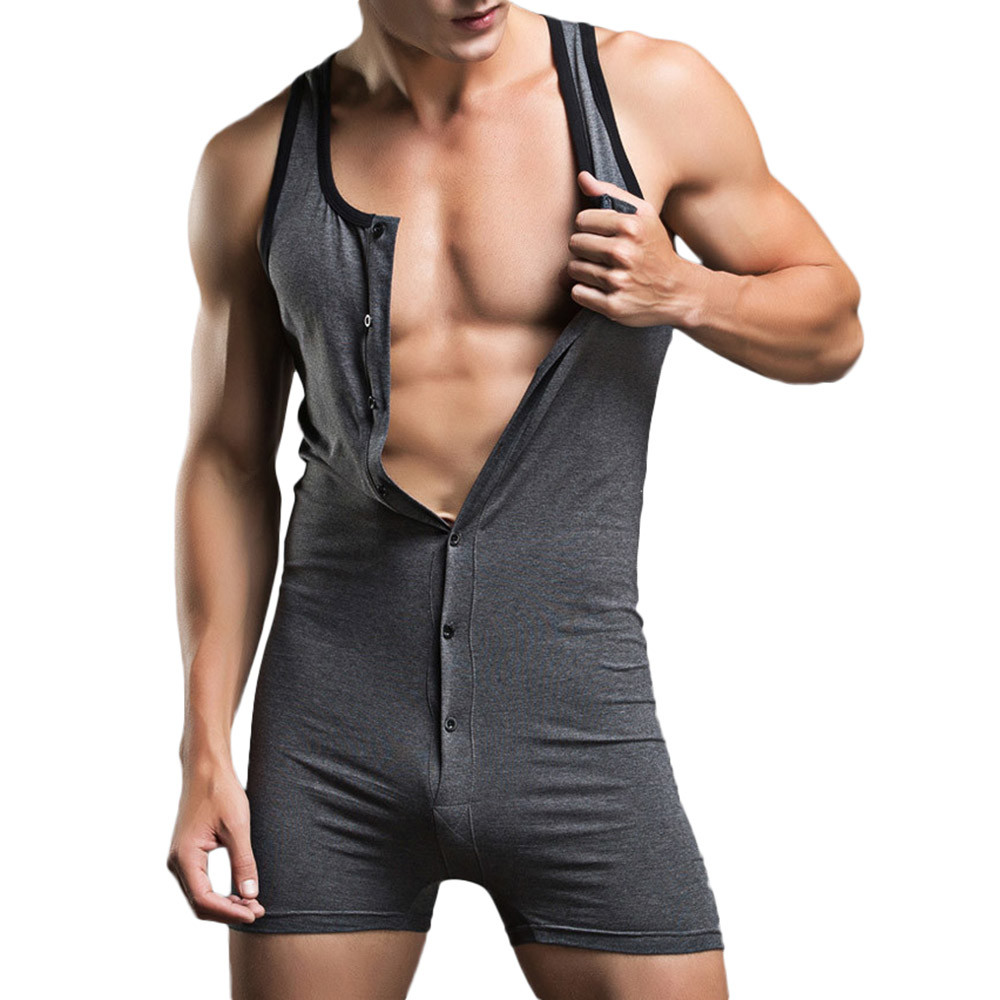 2019 Fashion Men's Undershirt Underwear Sexy Tank Tops Bodysuit Nightwear Jumpsuits Shorts Hot Sale