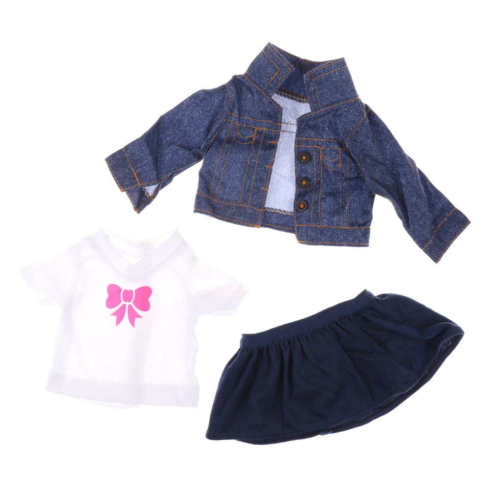 b474901d369 Doll Fancy Jeans Shirt Dress Suit for 18  girl Doll Clothes Outfit Girls  Best Gifts 3Pcs Set-in Dolls Accessories from Toys   Hobbies on  Aliexpress.com ...