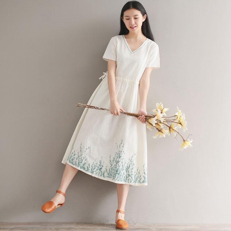 315a3689ae07 Mfelier Summer Mori Girl T Shirt Dress V Neck Short Sleeve Elastic Waist  Retro Embroidery Hem Women Casual Dress