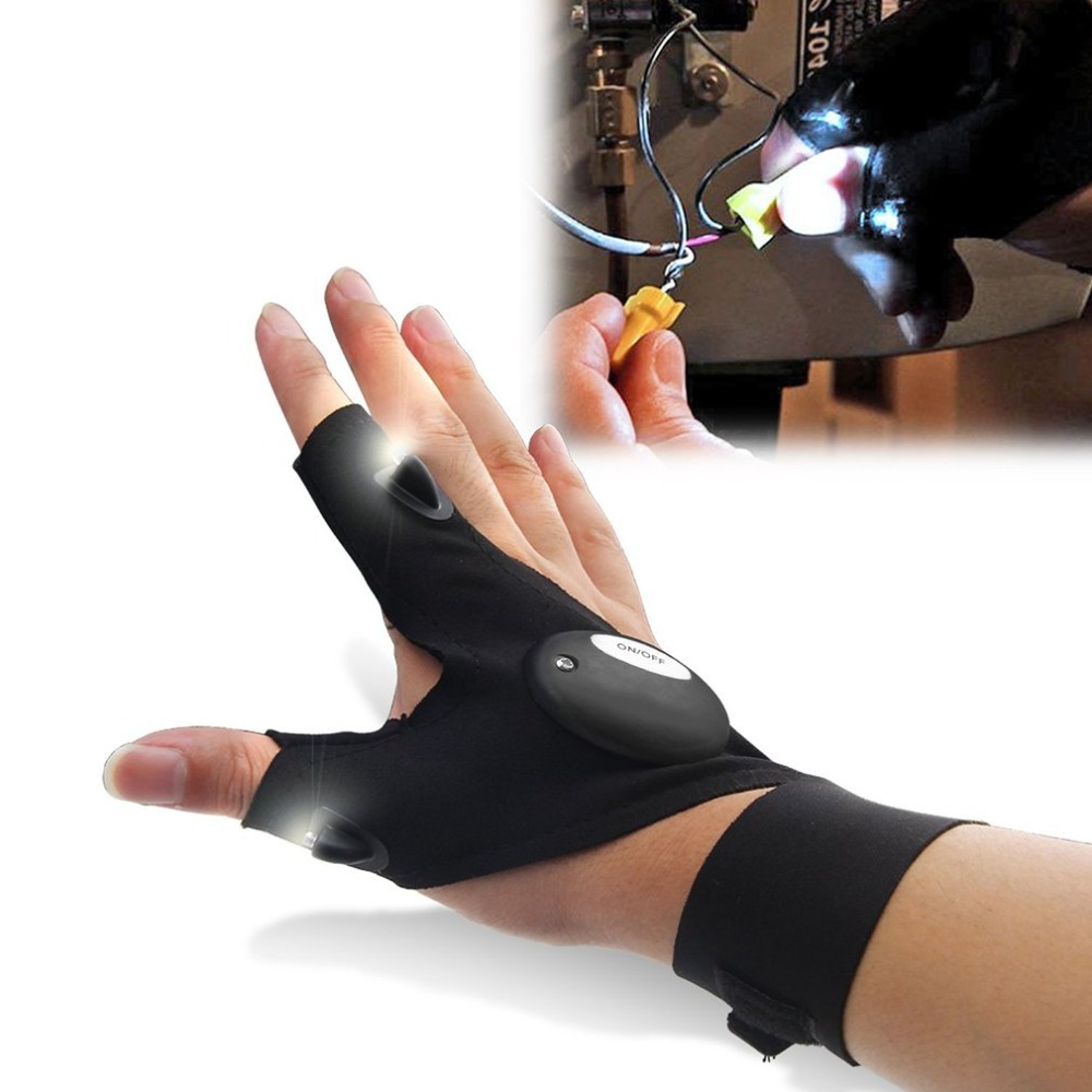 Magic Strap Fingerless Gloves With Hands Free Led Flashlights Finger Gloves For Survival Camping Hiking Sport Cycling