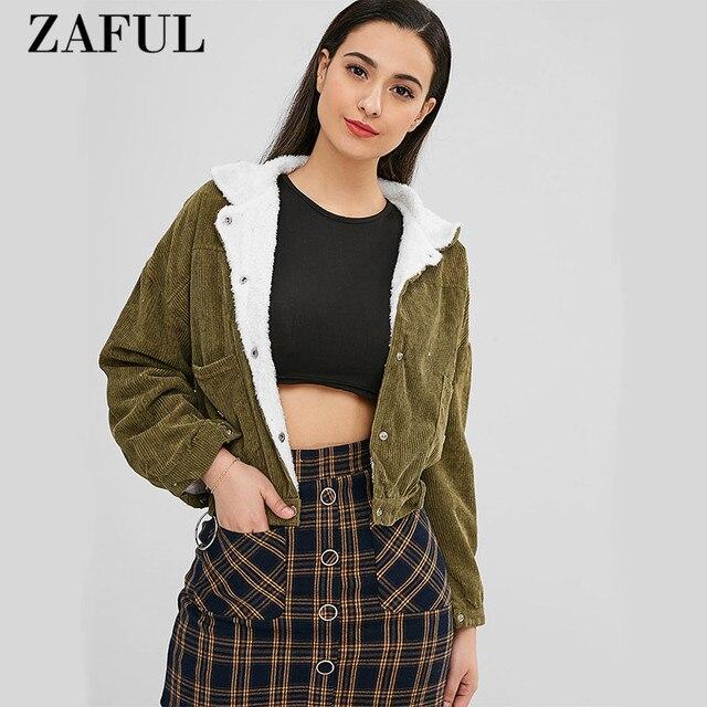 ZAFUL Metallic Ring Button Up Sheepskin Winter Solid Pockets Autumn Slim Jacket Women Corduroy Snap Button Up  Winter Coat
