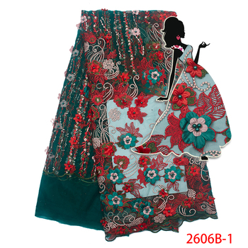 New Design 2019 High Quality African Fabric Lace Green With Red 3d Flowers Tulle Lace Fabric French Embroidered Fabric AMY2606B