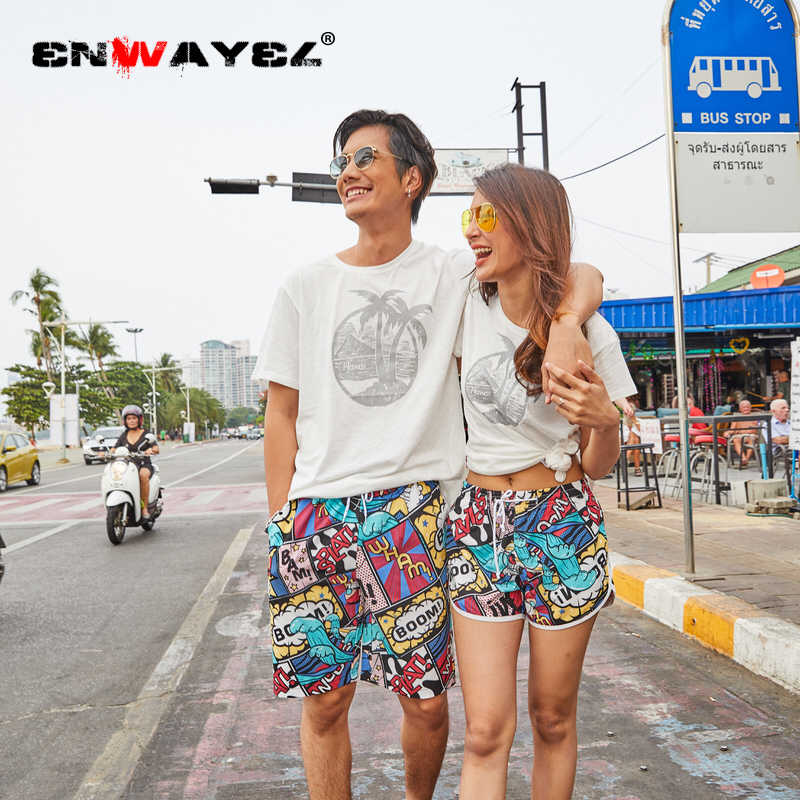 ENWAYEL 2019 Summer New Unisex Casual Shorts Men Women couples Male Camouflage Flowers Print Straight Short Beach Mens Clothing
