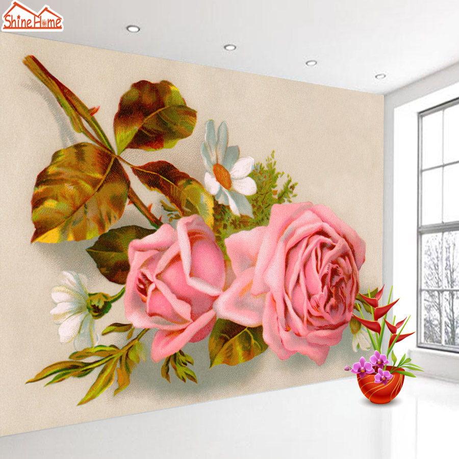 ShineHome-Rose Blossom Flower Natural 3d Wallpaper Wallpapers Photo Walls Murals for 3 d Living Room Kids Home Roll Wall Paper shinehome lamp bulb in water art 3d wallpaper wallpapers photo walls murals for 3 d living room still life home roll wall paper