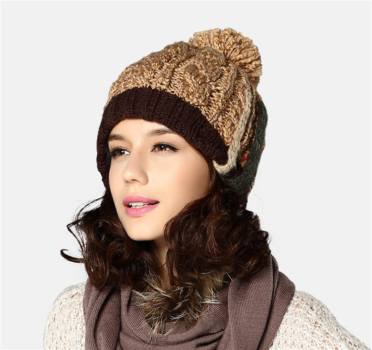 6e8d7a04a0a Winter Hats Caps Women Girls Ladies Light Tan Of Wool Acrylic For Christmas  Gift KM 1617-in Skullies   Beanies from Apparel Accessories on  Aliexpress.com ...