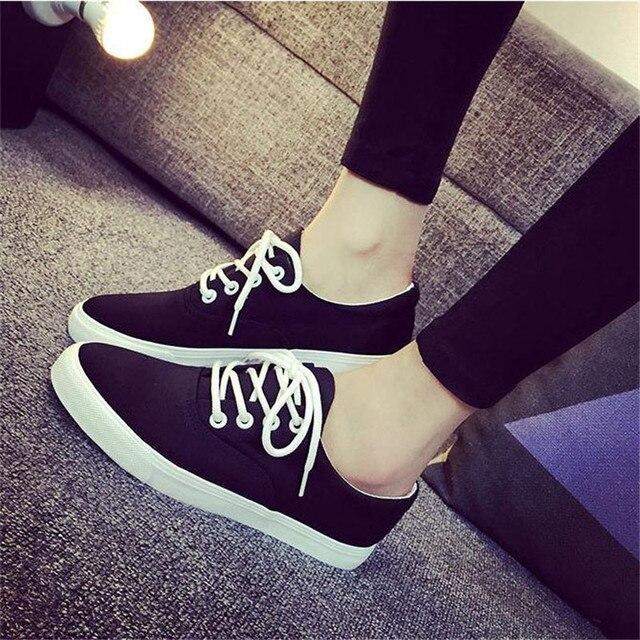 Размер 35-40 Женщины Мода Повседневная Плоские туфли Мелкой шнуровке Холст Весна Осень Твердые Обувь Работы Студентов обувь для ходьбы