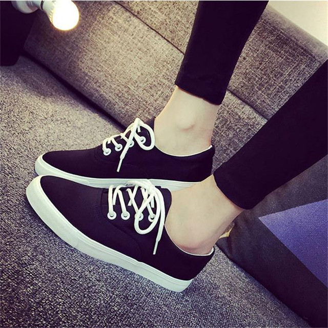 Size 35-40 Women Fashion Casual Flat shoes Shallow Lace-up Canvas Spring Autumn Solid Shoes Working Students Walking shoes