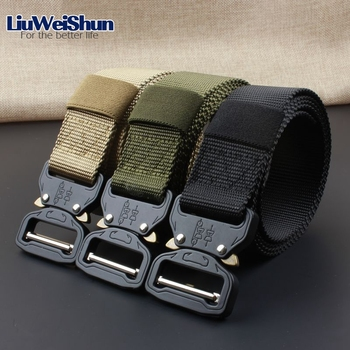 LiuWeiShun Military Tactical Belt Men Canvas Metal insert buckle belts for Men nylon Training belt Army outdoor belt male strap