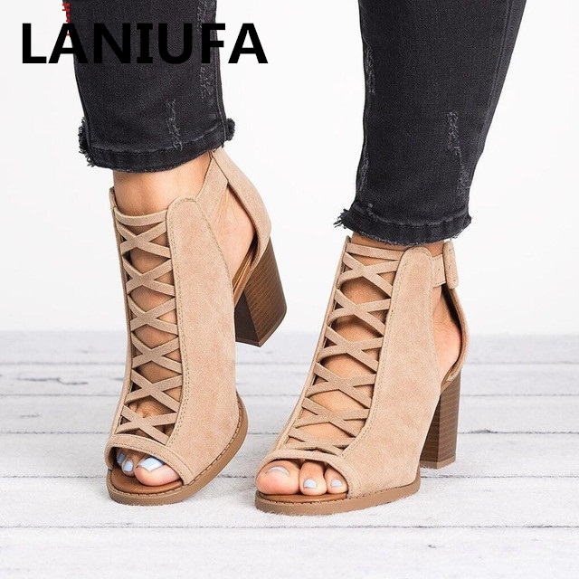 Women Sandals Mid-Heel Casual-Shoes Sexy Fish Large-Size Summer Mouth 34-43 Hollow 37