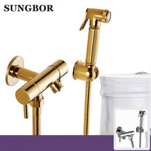 Golden Brass Handheld Bidet Spray Shower Set Copper Bidet Sprayer Lanos Toilet Bidet Faucet Lavatory Gun,Wall Mounted Tap PQ-819 все цены