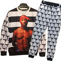 2016 New Hip hop Jumper Black and white stripes Fashion hoodies men/women Tupac Shakur 2Pac sweatshirt tops plus size S-XL