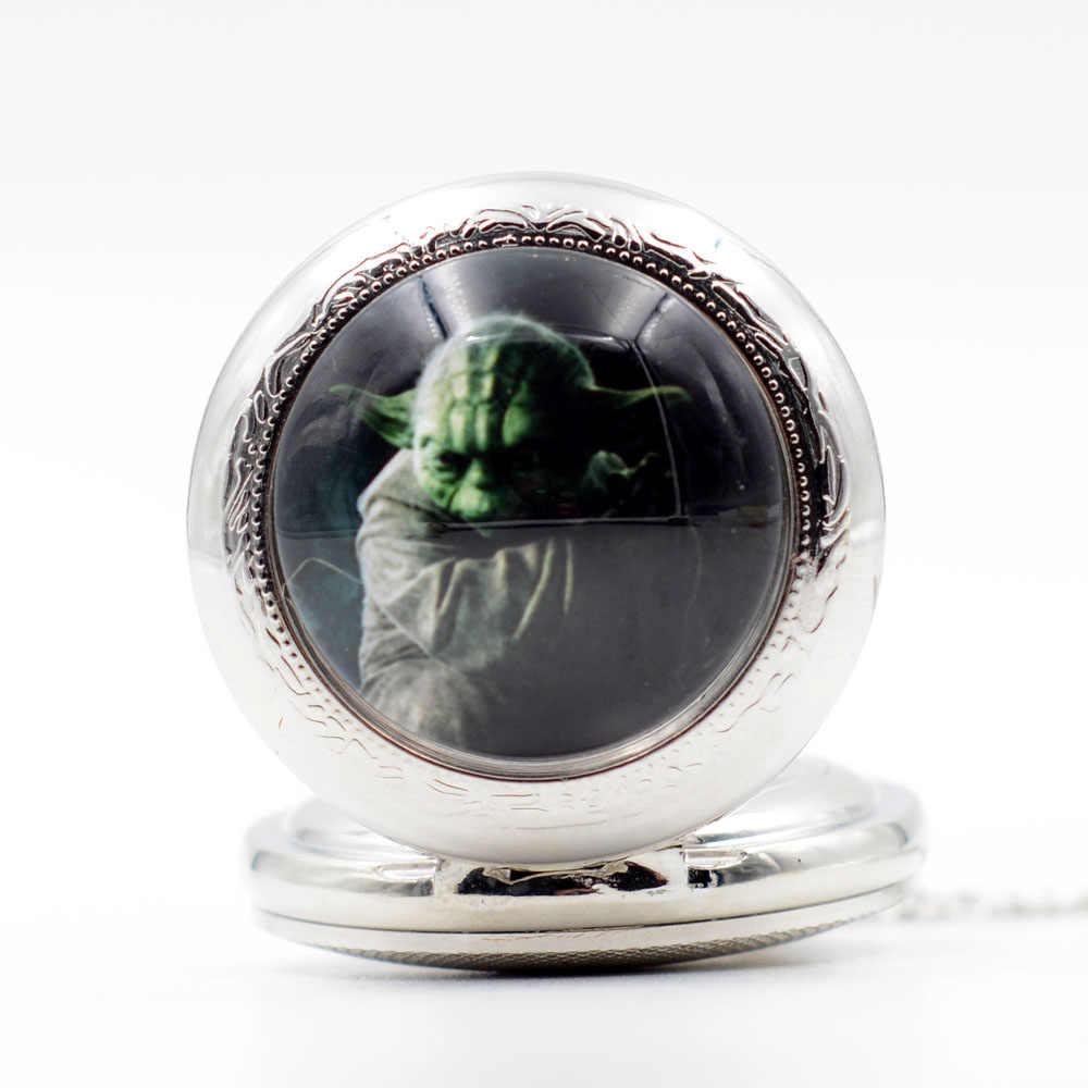 Новые Sci-fi фильмы Звездные войны Мастер Йода черные/бронзовые/серебряные кварцевые карманные часы кулон ожерелье мужские часы женские часы подарок