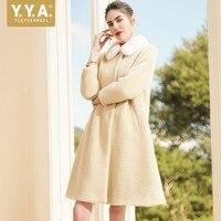 2019 зимние женские шерстяные смеси пальто сплошной норки меховой воротник верхняя одежда женский свободный крой длинные пальто элегантный