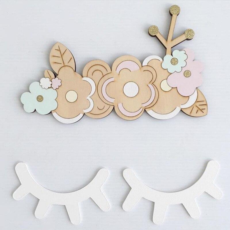 2Pcs 3D DIY Wooden Eyelash Wall Stickers for Kids Rooms Decorative Ornaments Sleepy Eye Wall Decal Home Decor dřevěné dekorace do dětského pokoje