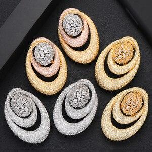 Image 1 - GODKI 43MM Famous Luxury Popular Waterdrop Stud Earring For Women Accessories Full Cubic Zirconia Earrings pendientes mujer moda