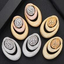 GODKI 43MM מפורסם יוקרה פופולרי ואטארדרוף Stud עגיל לנשים אביזרי מלא מעוקב Zirconia עגילי pendientes mujer moda
